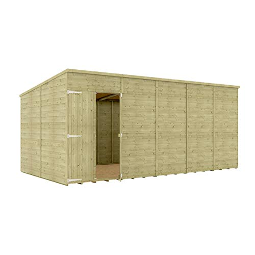 16 x 8 Pressure Treated Hobbyist Pent Shed Tongue & Groove Shiplap Cladding Construction Windowless Offset Door OSB Floor Wooden Garden Shed 4.87m x 2.43m