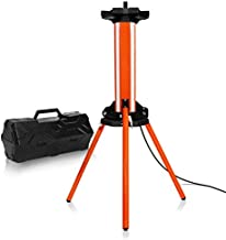 PARMIDA LEDSONIC Tower LED Work Light with High-Power Bluetooth Speaker and Tripod Stand, 5000lm, 55W, Carry Case Included, Adjustable Bright Area Light, 6FT Power Cord, IP65 Waterproof, ETL - Orange