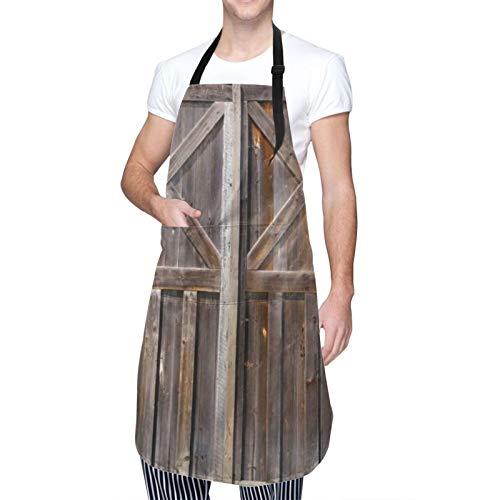 COFEIYISI Delantal de Cocina Antiguo granero de madera rústica puerta de la granja de roble Campiña Junta de aldea la vida rural Delantal Chefs Cocina para Cocinar/Hornear