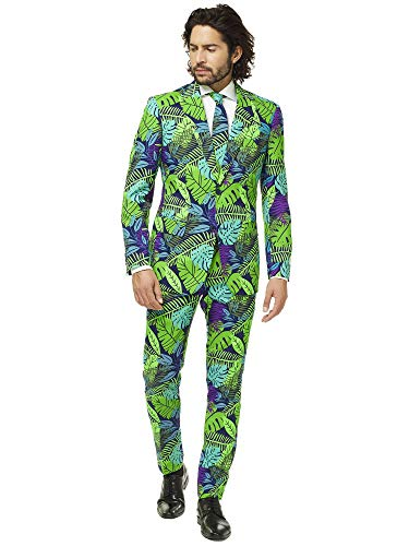 OppoSuits Herren Crazy Prom Suits for Men – Juicy Jungle – Comes with Jacket, Pants and Tie In Funny Designs Herrenanzug, grün, 48