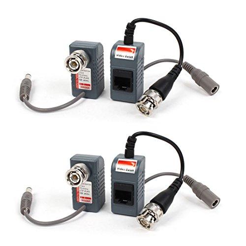 DealMux 2 Coppie da BNC Maschio a RJ45 DC Convertitore di Potenza Audio Balun Video Audio per Telecamera PTZ CCTV