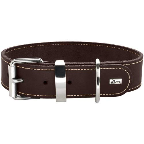 HUNTER AALBORG SPECIAL Hundehalsband, Leder, strapazierfähig, komfortabel, 55 (M), dunkelbraun