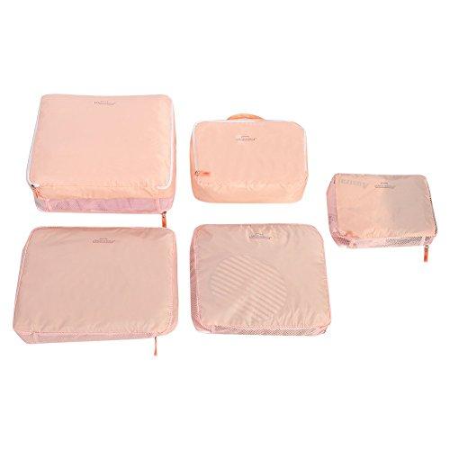 5 piezas de equipaje de viaje, maleta, bolsa de almacenamiento, equipaje portátil, ropa, ropa interior, zapatos, artículos de tocador, embalaje, bolsa organizadora (rosa)