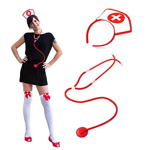Oblique Unique® Sexy Krankenschwester Kostüm Accessoire Set für Damen - Spritze im Kopf Haarreif + Overknee Strümpfe + Krankenschwester Haarreif + Stethoskop Fasching Karneval Halloween