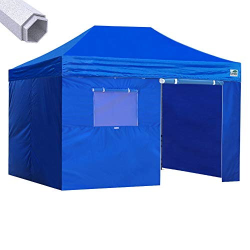 Eurmax Premium 10x15 Pop up Canopy Instant Canopies Outdoor Party Tent Shade with 4 Removable Enclosure Zipper End Sidewalls Walls +Roller Bag(Blue)