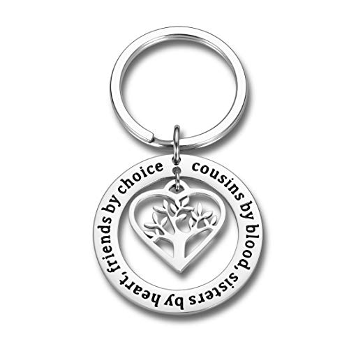 Cousins Gift Keychain Cousins by Blood Sisters by Heart Friends by Choice for Cousins Best Friends Girls Long Distance Birthday Graduation Christmas Gift Family Friendship Present Jewelry