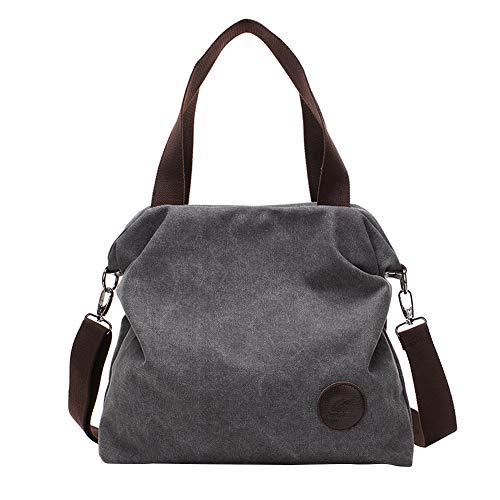PB-SOAR Damen Canvas Tasche Schultertasche Handtasche Umhängetasche Shopper Beuteltasche 41x36x10cm (B x H x T), 5 Farben auswählbar (Grau)