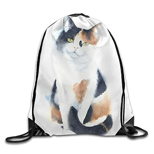 FULIYA Cat Calico Breed Sitting Watercolor Painting Illustration Handmade Isolated On White Background Drawstring Bags Traveler Backpack For Teens College Drawstring Shoulder Bag Backpack String Bags
