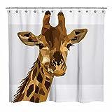 Sunlit Duschvorhang mit geometrischem Design, 3D-Druck, Giraffen-Motiv, moderner Stil, Badezimmer-Dekoration