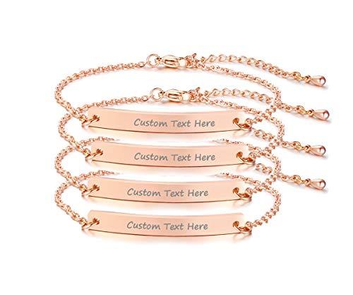 VNOX Set for 4 Customize Skinny Thin Bar Nameplate Monogram Friendship Bracelet,Rose Gold Plated,Bridesmaid Gift