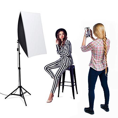 1600W Softbox Dauerlicht Fotostudio Set,Heorryn Softbox Studioleuchten Kit mit 2m verstellbarem Ständer 5500K LED Birne und Tragetasche für Fotostudio-Porträts Produktfotografie Videoaufnahme