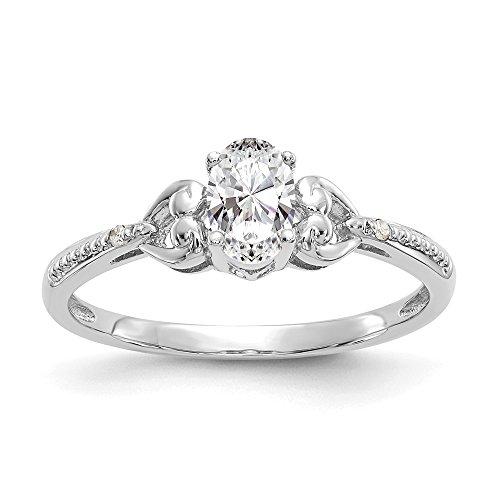 10K oro blanco topacio blanco anillo de diamantes CTW. 0,01, Gem quilates. 0,54