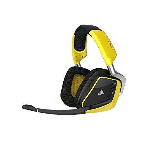 Auriculares gaming amarillos con micrófono
