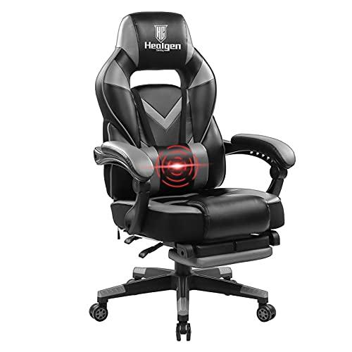 HEALGEN Reclining Gaming Chair with Adjustable Massage Lumbar Pillow and Footrest- Memory Foam PC Computer Racing Chair - Ergonomic High-Back Desk Office Chair (9015GREY)
