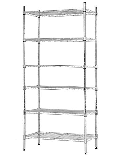 NSF Wire Shelf Organizer 6 Wire Shelving Unit Metal Storage Shelves, Utility Commercial Grade Heavy Duty Height Adjustable Leveling Feet Steel Layer shelf Rack 1500 LBS Capacity-14x24x60,Chrome