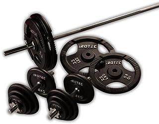 IROTEC(アイロテック) アイアンバーベル ダンベル 100KG セット【バーベルシャフト180cmワイドグリップタイプ】 ベンチプレス 筋トレ トレーニング