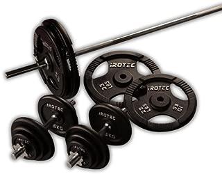 IROTEC(アイロテック) アイアンバーベル ダンベル 100KG セット【バーベルシャフト180cmワイドグリップタイプ】 ベンチプレス 筋トレ トレーニング バーベル・フィットネスバー