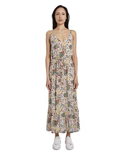 TOM TAILOR Damen Kleider & Jumpsuits Maxi Trägerkleid mit tropischem Print White Watercolor Flower Design,36