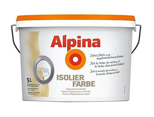 Alpina 5 Liter Isolierfarbe Ruß- & Nikotin, isoliert Nikotin, Ruß und Wasserflecken Weiß Matt