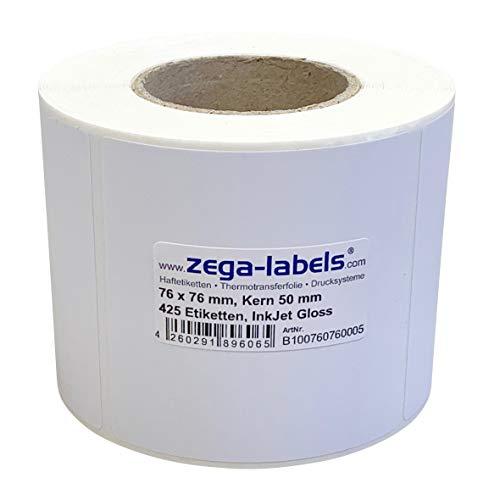 Inkjet Etiketten auf Rolle - 76 x 76 mm - 425 Stück je Rolle - Kern: 50 mm - Papier weiss glänzend - aussen gewickelt - permanent haftend - Druckverfahren: Ink Jet (Rollen Tintenstrahl Drucker)