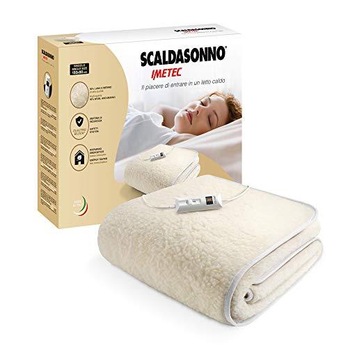 Imetec Scaldasonno Singolo 150x80 cm, 50% Lana e Merino, 2 Temperature, Dispositivo Sicurezza Electro Block, Made in Italy
