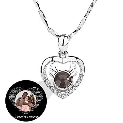 Collar I Love You En 100 Idiomas Collar De Proyección Personalizado Collar Con Foto Personalizada Colgante De Cornamenta(Plata a todo color 24)