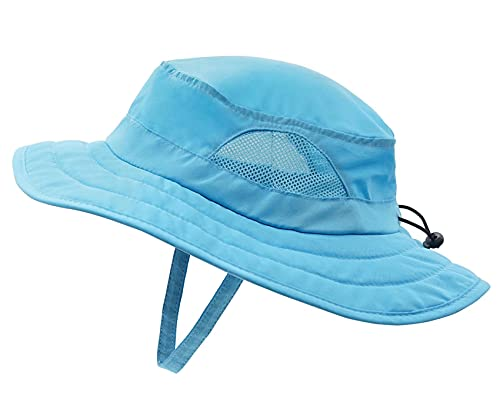 Connectyle Kids UPF 50+ Mesh Safari Sun Hat UV Sun Protection Hat Summer Daily Play Hat (Aqua Blue) ,50-54cm/19.6'-21.2''