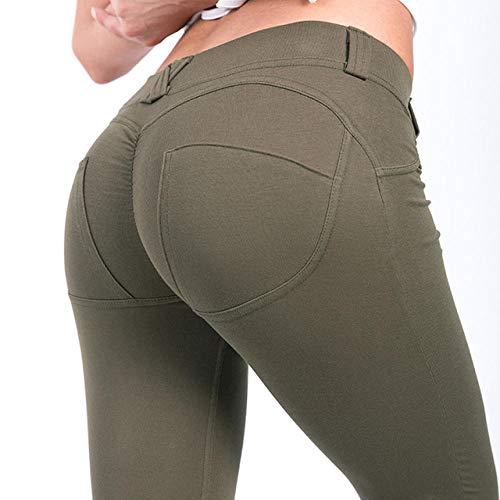Taille yogabroek met zakken,Peach hippe broek, sportlegging-green_XL, Stretchy legging met hoge taille voor meisjes
