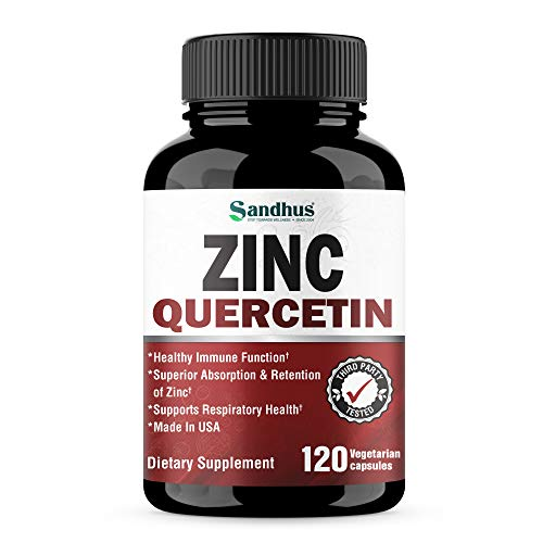 Zinc with Quercetin Seasonal Allergy Relief Best Quercetin Zinc Vitamin Supplement for Immune Support, Cardiovascular Health Support 120 Vegetarian Capsules- Made in USA