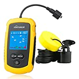 Venterior VT-FF001 Portable Fish Finder Handheld Fishfinder Fishing Gear Depth Finder with Sonar Transducer and LCD Display (Yellow)