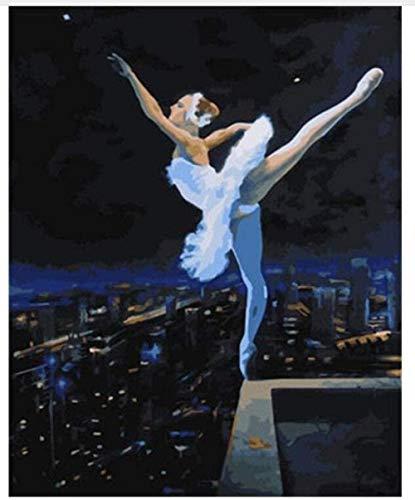 Jkykpp Erwachsene gemalte Ballerina auf einem digitalen Dach.Geschenk für Erwachsene Kinder.Kinder mit Zahlen gemalt.Pinsel und Acrylfarbe