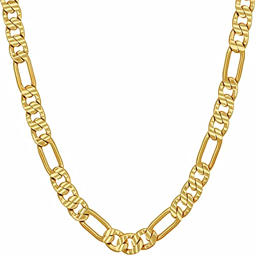 LIFETIME JEWELRY 4.5mm & 6mm Swiss Diamond Cut Figaro Chain Necklaces 24k Real Gold Plated (6mm, 18)