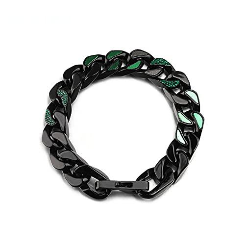 WPJ Bordillo Brazalete Cubano, Pulseras de la Cadena Cubana de Acero Titanio para Hombres Mujeres, Negro/Verde, joyería hipoalergénica, 12 mm
