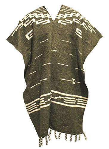 Del Mex Clint Eastwood Spaghetti Western Cowboy Poncho Costume Sweater, Handwoven Made in Mexico (Olive Green)