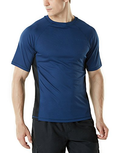TSLA Bademode Kurzarm Top UV-Schutz UPF 50+ Quick-Dry Rash Guard für Herren, Mss01 1pack - Navy & Black, XS