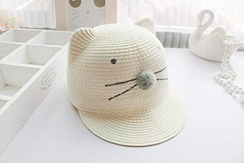 HZAMING Baby mütze atmungsaktiv Frühling und Sommer atmungsaktive Baby Sonnencreme Sonnenhut Strohhut-Infant_M_Beige Cartoon Katze