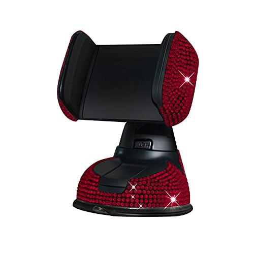 Tenedor del teléfono del Coche, Soporte cristalino Giratorio del teléfono móvil del Mercado del Aire del Diamante Artificial de 360 Grados (Red)