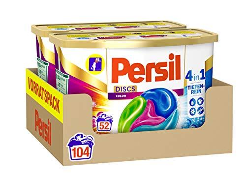 Persil 4in1 DISCS Color, Colorwaschmittel, 104 (2 x 52) Waschladungen für Fleckenentfernung, Leuchtkraft, Frische, Faserpflege und hygienisch reine Wäsche