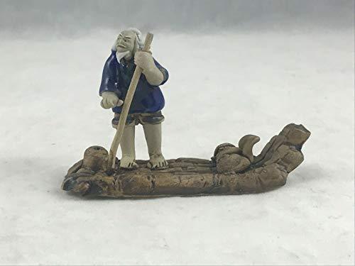Chinese Mudman Figurine Man Standing on Raft for Bonsai Tree & Zen Garden # 9111