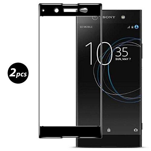 [2 Stück] Panzerglas Für Sony Xperia XA1 Ultra, Full Coverage Schutzfolie Bildschirmschutzfolie, Schwarz