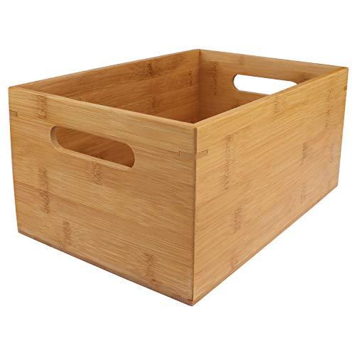 Cajon Madera Almacenaje - 30 x 20 x 14cm, Caja de Bambú con Asa para Organizar Alacena, Cocina, Despensa, Estantes - Caja de Madera Organizar