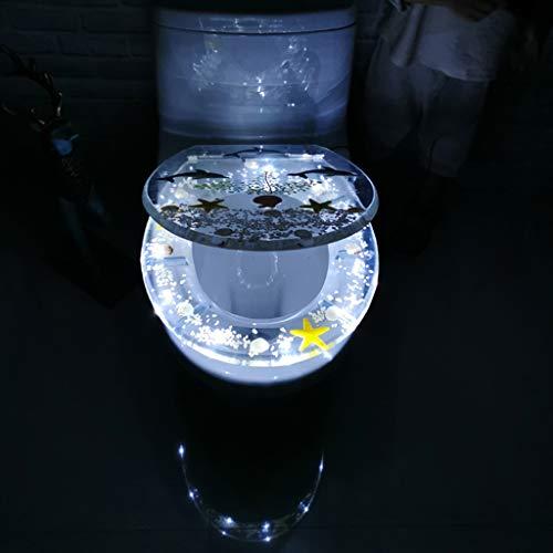 Sisyria Transparenter Toilettensitz, schöner Dolphin-Toilettensitz Absenkautomatik-Toilettendeckel-Aufrüstungs-LED-Toilettensitze Einfacher, sauberer und langlebiger Toilettensitz,Led,BottomFix