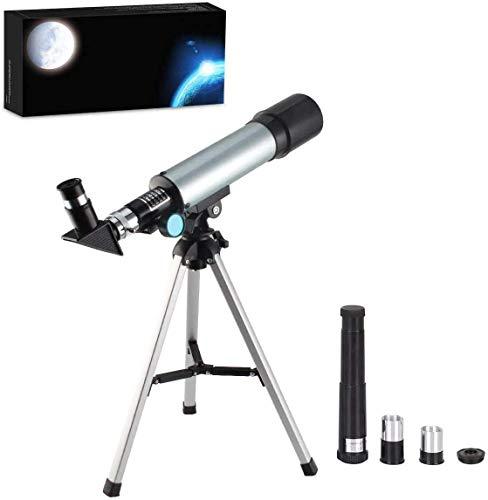 MAZ Telescopio para niños, telescopio refractario 90X, telescopio de astronomía mesa exploración de la naturaleza juguetes para niños, adultos observación de estrellas, observación de aves