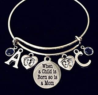 Personalized New Mom Jewelry Twins When a Child is Born so is a Mom Birthstone Expandable Charm Bracelet Adjustable Bangle Gift