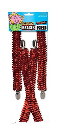 Bristol Novelty Novelty-BA1026 Ba1026 Bretelles avec Sequins, Rouge, Red, Taille Unique