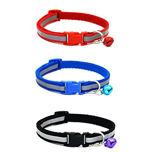 UEETEK 3pcs gato reflectante Collar con campana regulable para mascotas gatito cachorro perros pequeños (rojo + azul + negro)