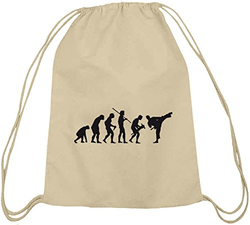 Shirtstreet24, EVOLUTION JUDO, Kampfsport Karate Baumwoll natur Turnbeutel Rucksack Sport Beutel, Größe: onesize,natur