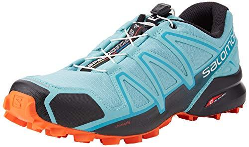 SALOMON Women's Speedcross - 4 W Trail running shoes, Turquoise Meadowbrook Black Exotic Orange, 8 UK