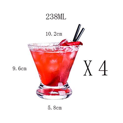 CHQYY Copas de Vino sin Tallo Copa de cóctel - Copa de Vino/Copa de Cristal/Copa/Copa de cóctel/Copa de Helado/Transparente/Regalo Creativo / 238MLX4 Apto para familias, restaurantes, ofic