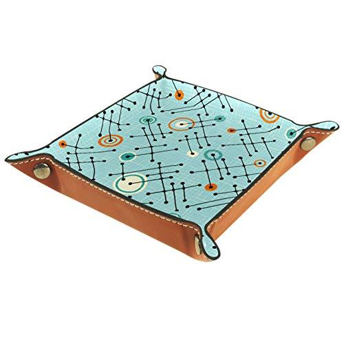 Bandeja de Cuero - Organizador - Estrellas atómicas azules - Práctica Caja de Almacenamiento para Carteras,Relojes,llaves,Monedas,Teléfonos Celulares y Equipos de Oficina